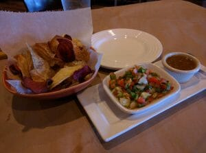 veggie chips and salsas