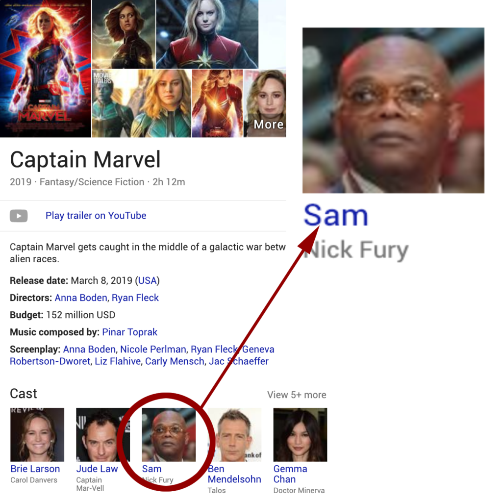 02/07/19 at 11:05 AM CST of the Google information about Captain Marvel, showing them truncating Samuel L Jackson's name to 'Sam